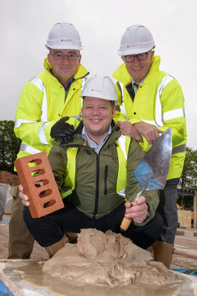 Cinnamon Care Collection's development manager James Gant, front, with senior site manager, Peter Rhodes, left, and director Chris Harrison, right, both from Greswolde Construction