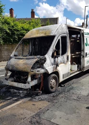 The van fire took place on Gospel End Street. Photo: Dudley North WMP on Twitter.