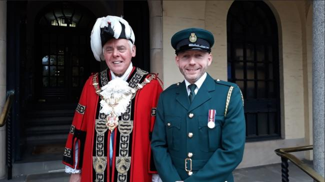 The Mayor Dudley, councillor David Stanley, with councillor Adam Aston at the flag raising ceremony on June 24.
