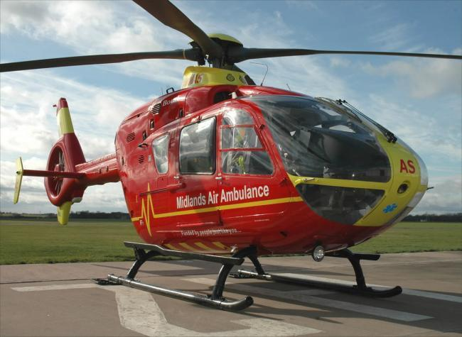 The incident happened in Vicarage Road in Wollaston. Photo: Midlands Air Ambulance Charity.