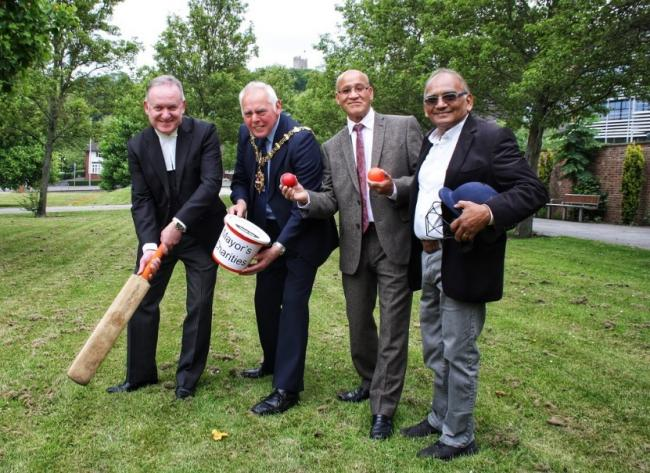 evin O'Keefe, chief executive at Dudley Council; Councillor David Stanley, Mayor of Dudley; Councillor Mohammed Hanif, organiser, and Harilal Patel, from Stourbridge Cricket Club.