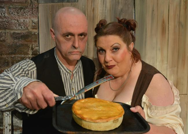 ndrew Bartlam as Sweeney Todd and Lisa Smith as Mrs Lovett serving up a tasty treat.