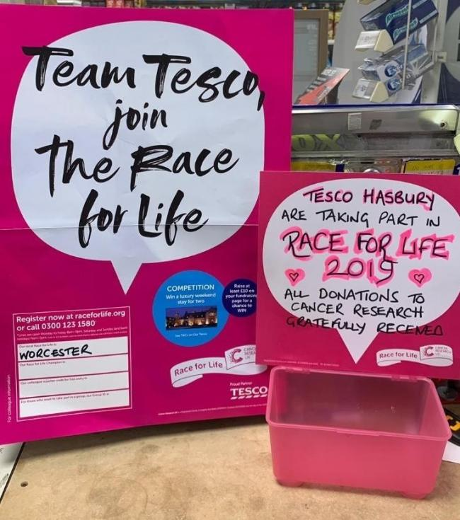Staff from Tesco in Hanbury are doing the Race For Life.