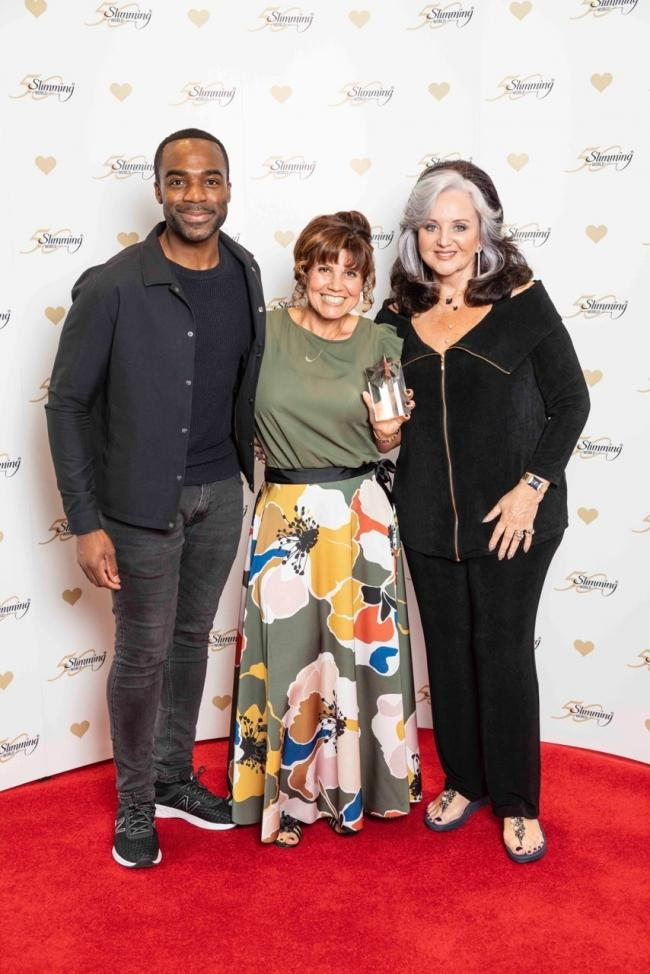Ore Oduba, winner Kerry Morgan and Margaret Miles-Bramwell OBE, Slimming World's founder and chair.
