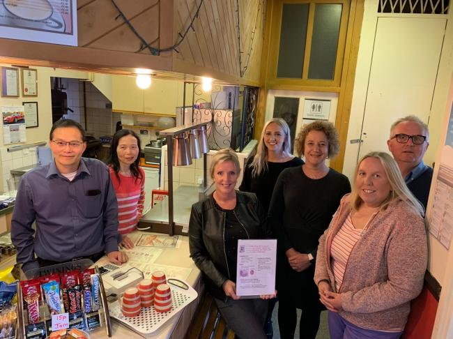 Ving Tsua (owner of The Coffee Shop), May Tsua (co-owner), Cllr Cathryn Bayton, Stephanie Guest (MET Recruitment), Andrea Childs (CEO Klick Business Solutions), Karen Paskin (Chair Friends of Grange Park) and Ian Austin MP at The Coffee Shop in Dudley.