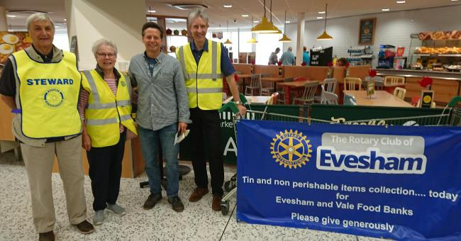 Rotary's foodbank collection with Nigel Huddleston