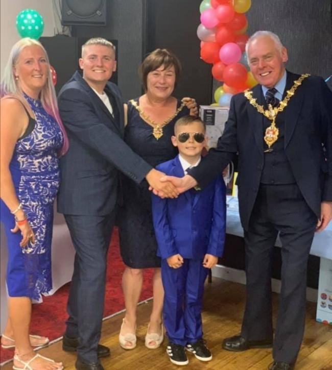 Left to right: Charlotte Maher-Butler, Kyle Harper, the Mayor's Consort Councillor Anne Millward, Harry Harper and The Mayor of Dudley, councillor David Stanley at the fundraising ball.