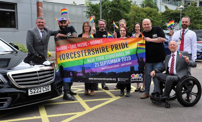 Organisers, and officials, with staff at Sanctuary Housing, in Worcester, promoting the Worcestershire Pride event , which takes place on 21st of September.2.9.19.