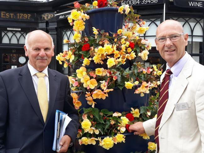 Stourbridge in Bloom organiser David Harcourt with judge Mark Wiltshire, from Heart of England in Bloom