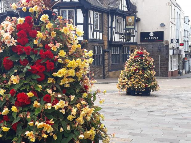 Halesowen News: Floral displays in Stourbridge town centre by The Mitre