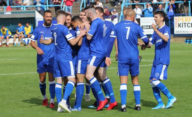 Halesowen's players celebrates against Lichfield City. Photo: Steve Evans/Halesowen Town