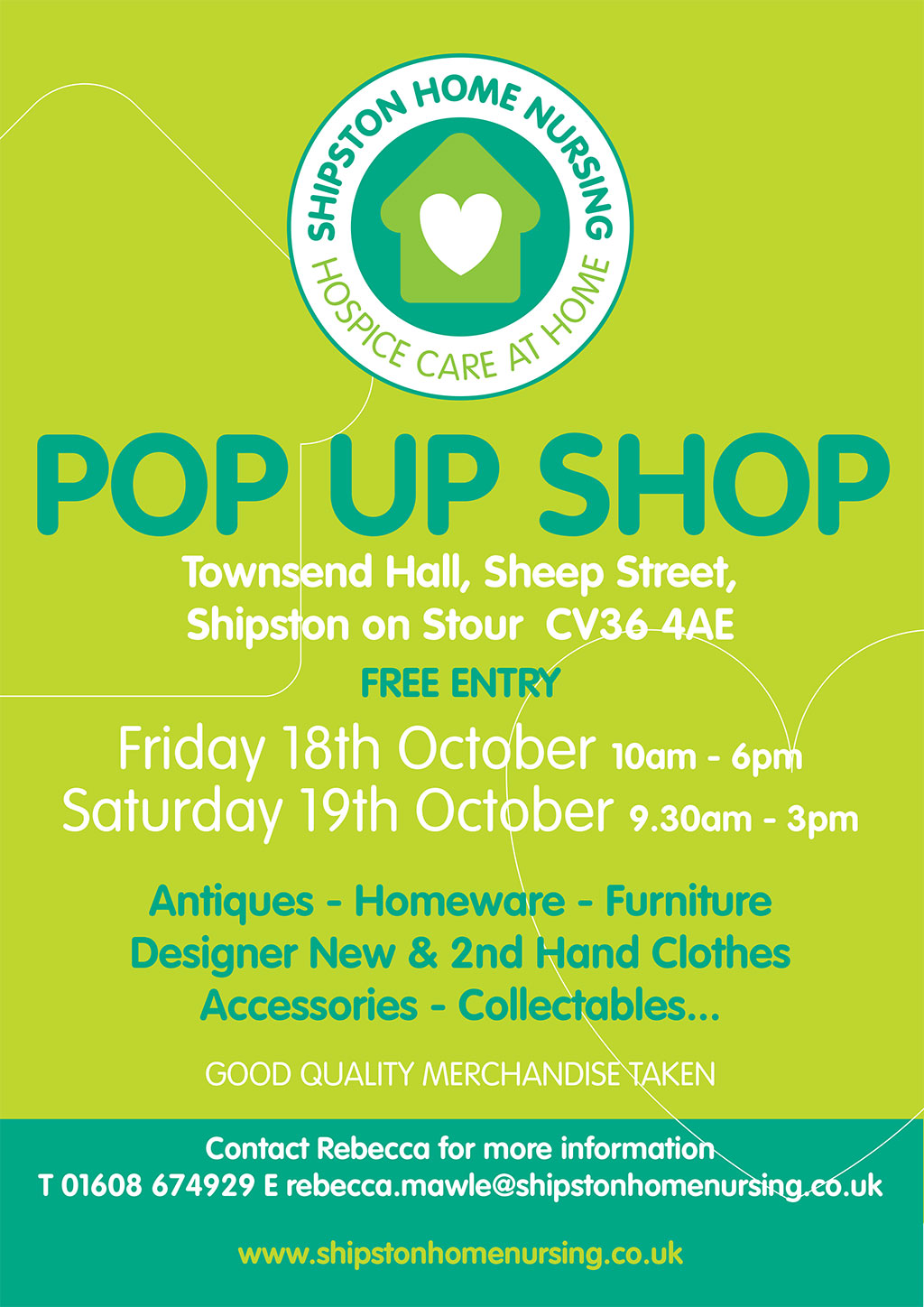 Shipston Home Nursing Pop up Shop