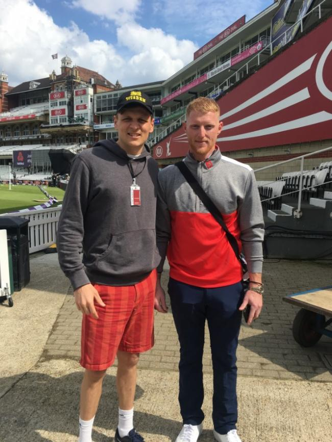 Nets bowler Henry Lamb, a teacher at The Elms School in Colwall, with England star Ben Stokes