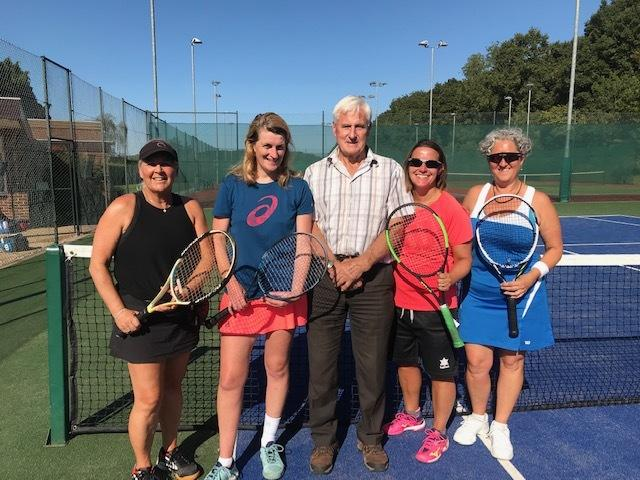 Kerry Hill and Jo Skym, organiser Vincent Clutterbuck, and runners up Marianne Allen and Louise Thomas.
