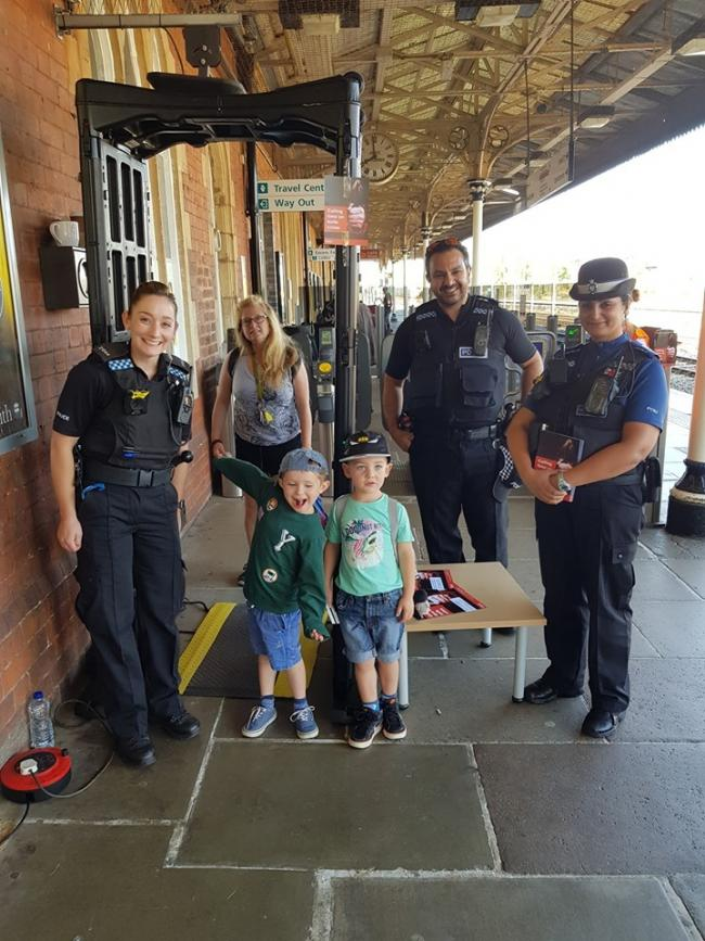 Police officers had a 'knife arch' at Hereford Railway Station yesterday. Photo: Hereford Cops