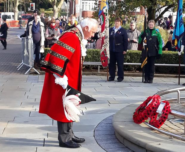 Halesowen News: Mayor of Dudley - Cllr David Stanley - at the cenotaph in Dudley. Pic - Dudley Council