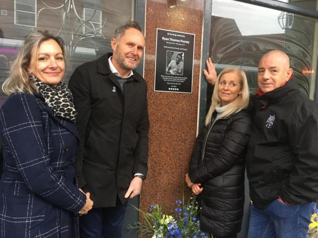 Ade Passey, with partner Debbie Pelaud, right, and Ryan's mum Gill Taylor, with step-dad Phil at the unveiling of the memorial plaque for Ryan Passey