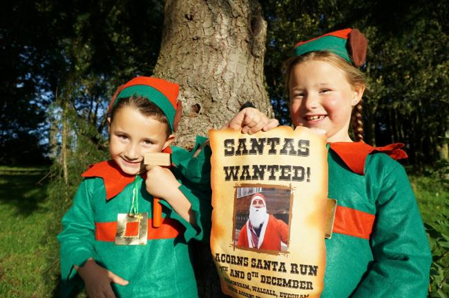 Santa's little helpers promoting the first-ever Acorns Santa Run in Worcestershire