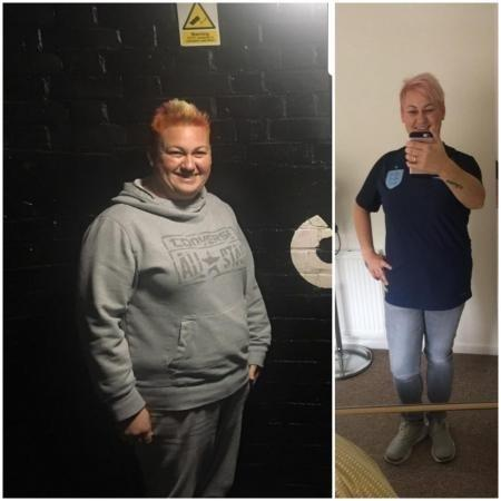 Claire Dey before and after her weight loss success.
