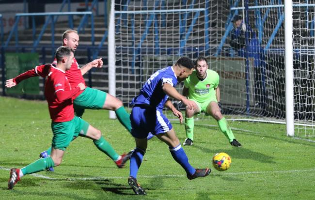 Montel Gibson scores for the Yeltz against Coventry United. Photo by Steve Evans