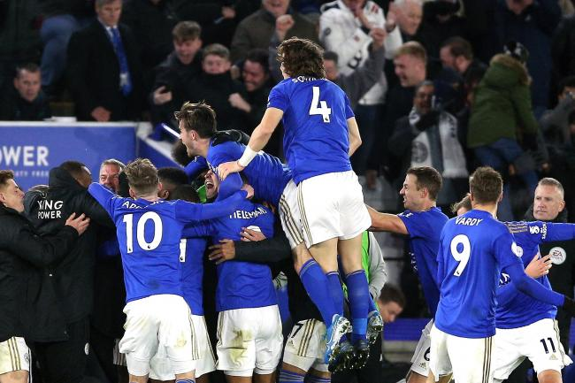 Leicester celebrated wildly after Kelechi Iheanacho's late winning goal against Everton.