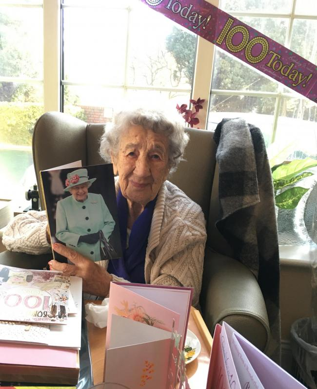 Irene Payton celebrates 100 years of age at Minster Grange care home in Stourport