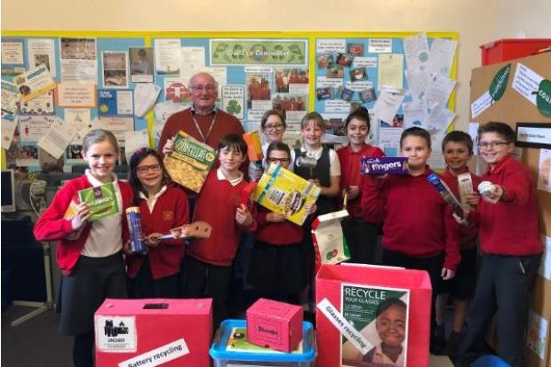 Cllr Norman MacRae with Great Rollright Primary School pupils