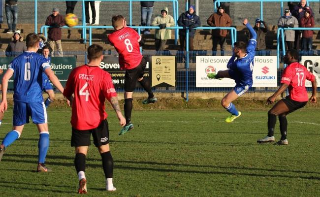 Action from Halesowen Town's win over Barton Rovers on Saturday. Pic: Steve Evans