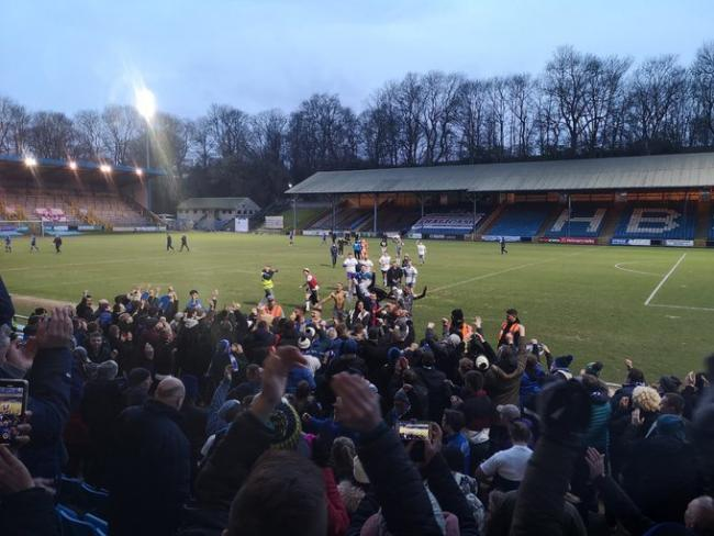 Halesowen's players and management celebrate with the travelling Yeltz fans at Halifax. Picture: Matt Russell.