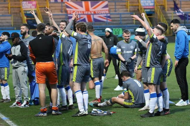 SCENES: Halesowen Town's players celebrate their famous victory. Pic: Steve Evans
