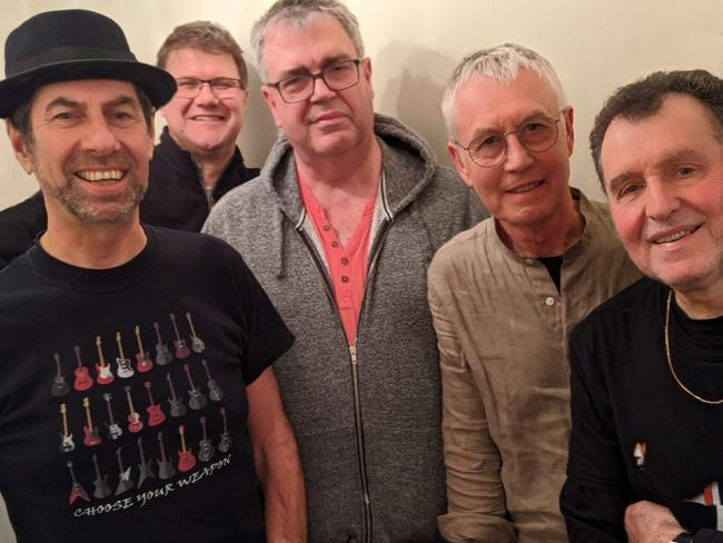 The Fezz, from left: Alan Davies, Colin Warren, Robin Powell, John Denton andMorris Windsor – drums and vocals.