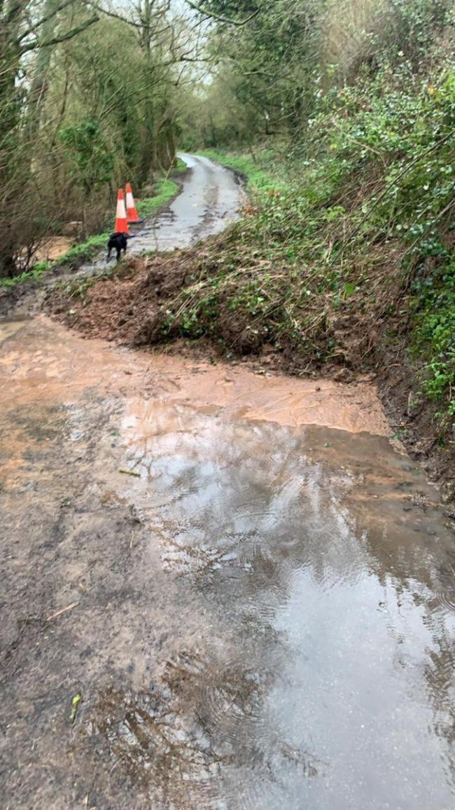 DANGER: An impassable road near Redditch. Photo: Twitter