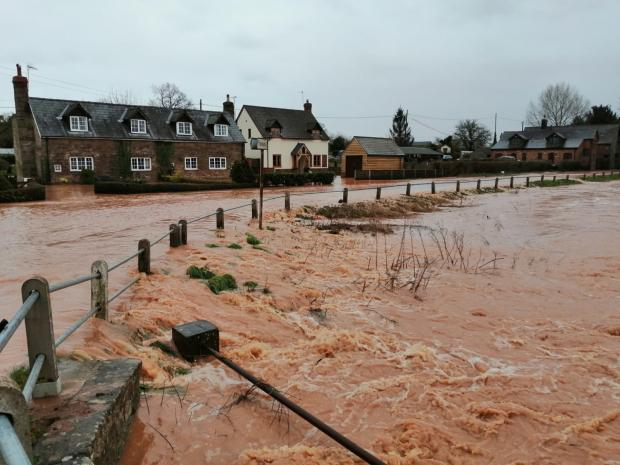 The A465 between Hereford and Bromyard is flooded at Cross Keys. Picture: Dave Prior