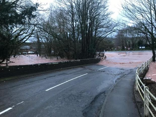 Halesowen News: The junction of the A465 Pontrilas/Ewyas Harold was hit by Storm Dennis floodwater. Picture: Philippa May