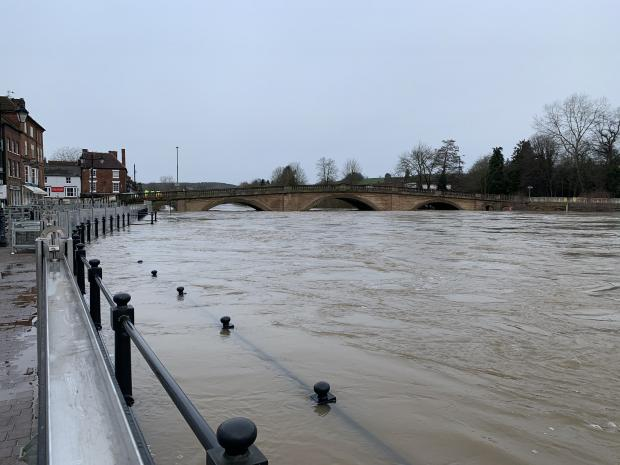 Halesowen News: The River Severn in Bewdley this morning. Photo by @IanJonesEA