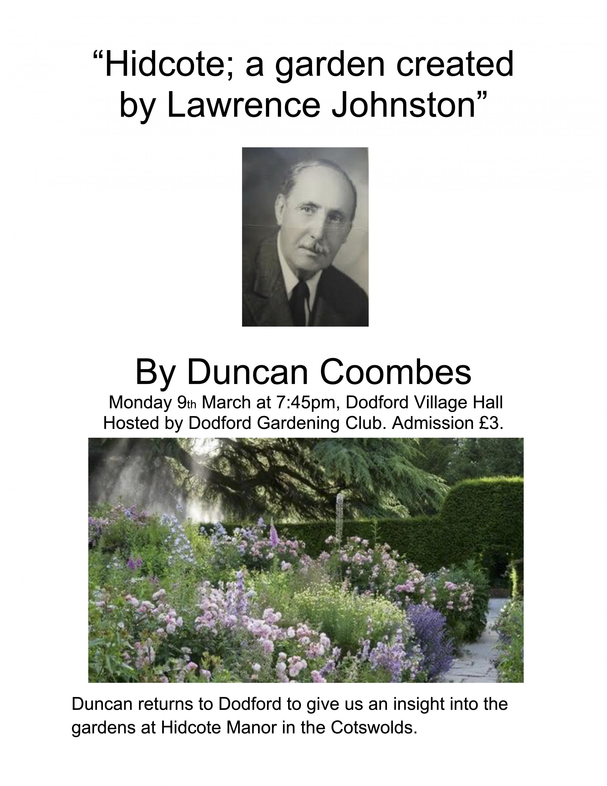Dodford Gardening Club - Hidcote; a garden created by Lawerence Johnston