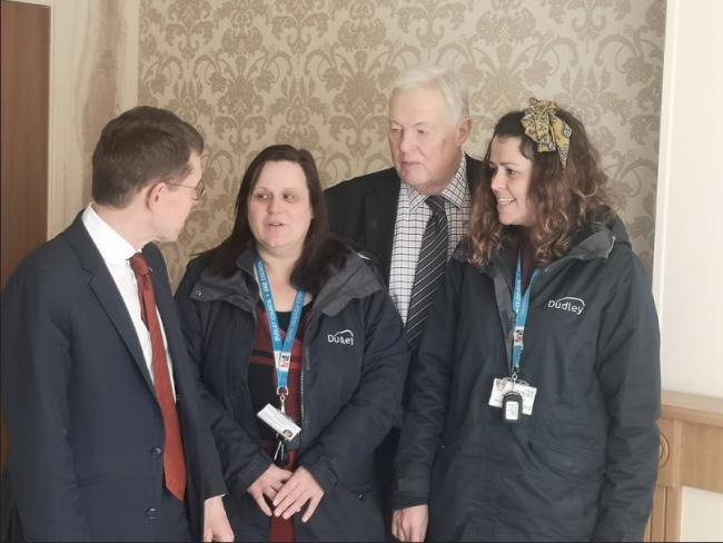Left to right: Andy Street, West Midlands Mayor; Diane Kendrick; Councillor David Vickers and Annabel Fuidge at a Housing First flat.