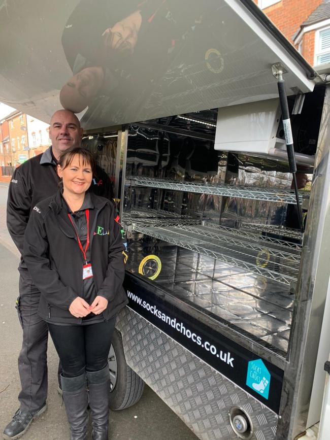 HELP volunteers Dave Griffin and Jo Ridsdill-Wardle with the new jiffy truck