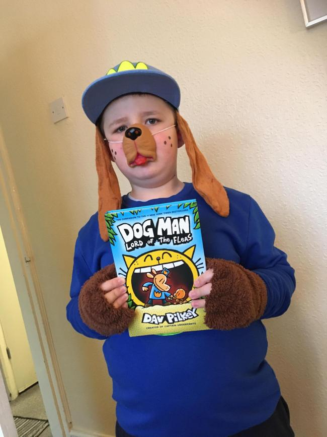 Joe Silk aged 8 from St Margaret's at Hasbury.  Halesowen.  Dressed as DOGMAN from his favourite book.