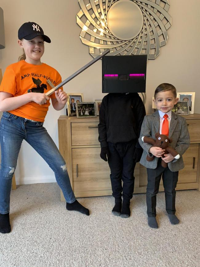 Ollie aged 4 dressed as Mr Bean  Oscar aged 6 dressed as An Enderman from Minecraft Maisie aged 9 dressed as Annabeth Chase from Percy Jackson Books