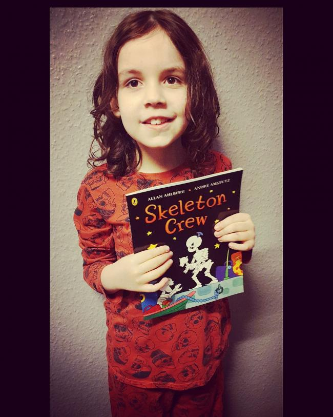 Keagan D-M age 8..woodsetton special school with his book the skeleton crew wearing his skull pj's for his slumber party for world book day.