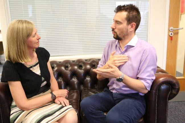 Natalie De Bruyn and Aaron Ockenden at the Royal Association of Deaf People HQ, Colchester. Picture: Newsquest