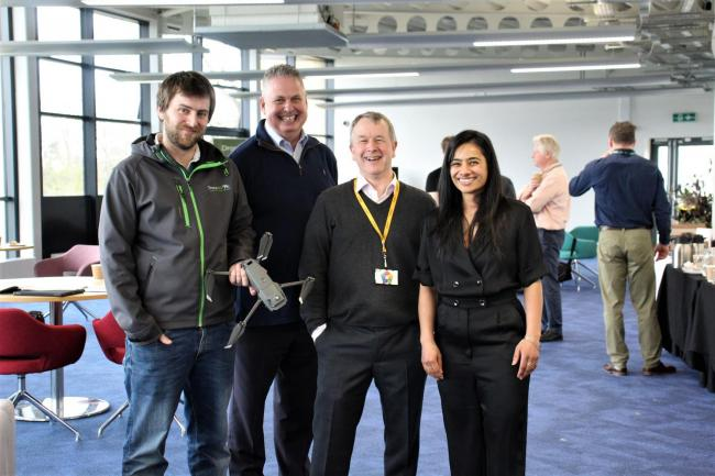 From left, Jack Wrangham, founder Drone AG; Managing Director of Impact Aerial, Nigel Pugh; GrowAgri Business Relationship Manager, Denis Harrison; Agri-Tech Research Assistant, Dr Anjana Patel