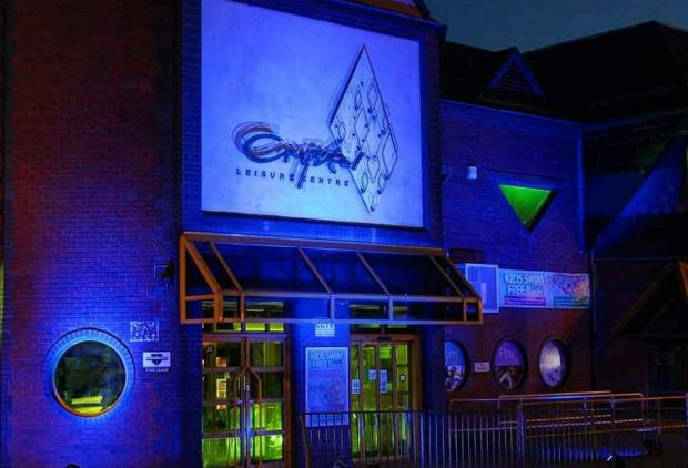 Halesowen News: The Crystal Leisure centre lit up for carers. Pic courtesy of Sally Shillingford