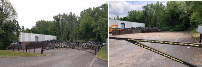 The tyre mountain before clearance (left) and after the clean up operation (right).