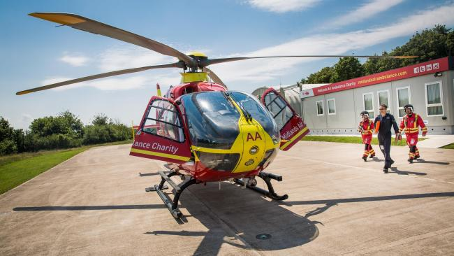 The Midlands Air Ambulance Charity helicopter and crew