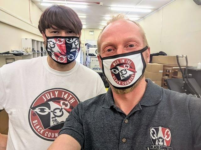 James Watkins (left), Stephen Pitts from Black Country T-Shirts with their Black Country face masks.
