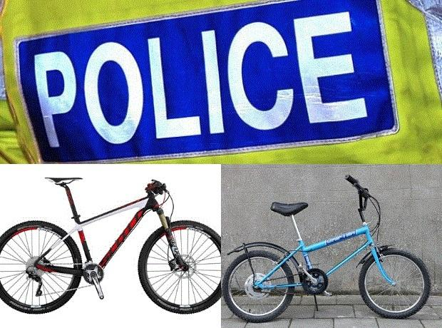 Pictured - a Scott red, black and white mountain bike like the one that was stolen in Amblecote, left, and a blue Rayleigh Grifter bike like the one stolen.
