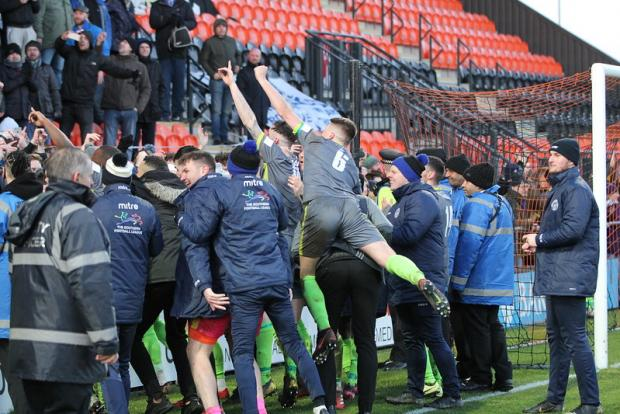 Halesowen News: Celebrations after the win at Barnet that put Halesowen into the semi-finals.