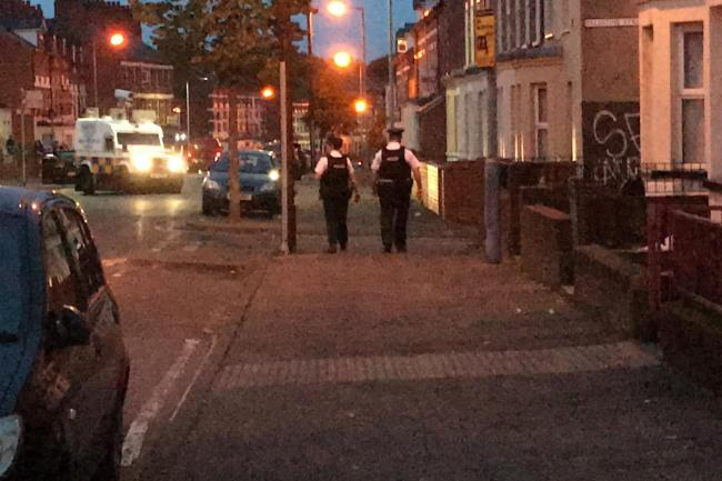 Police on patrol in the Holyland area of Belfast